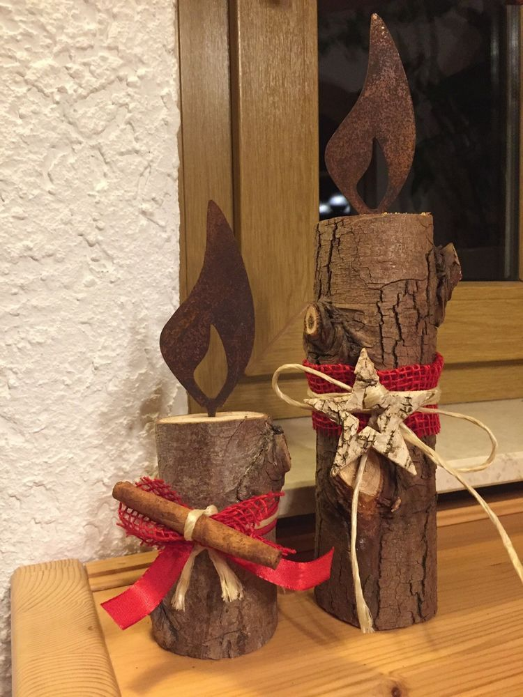 Holz-Säule Flamme Landhaus Holz Weihnachtsdeko Weihnachten Rustikal ...