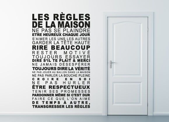 Stickers Les Règles De La Maison À Coller Derrière Porte Des Wc