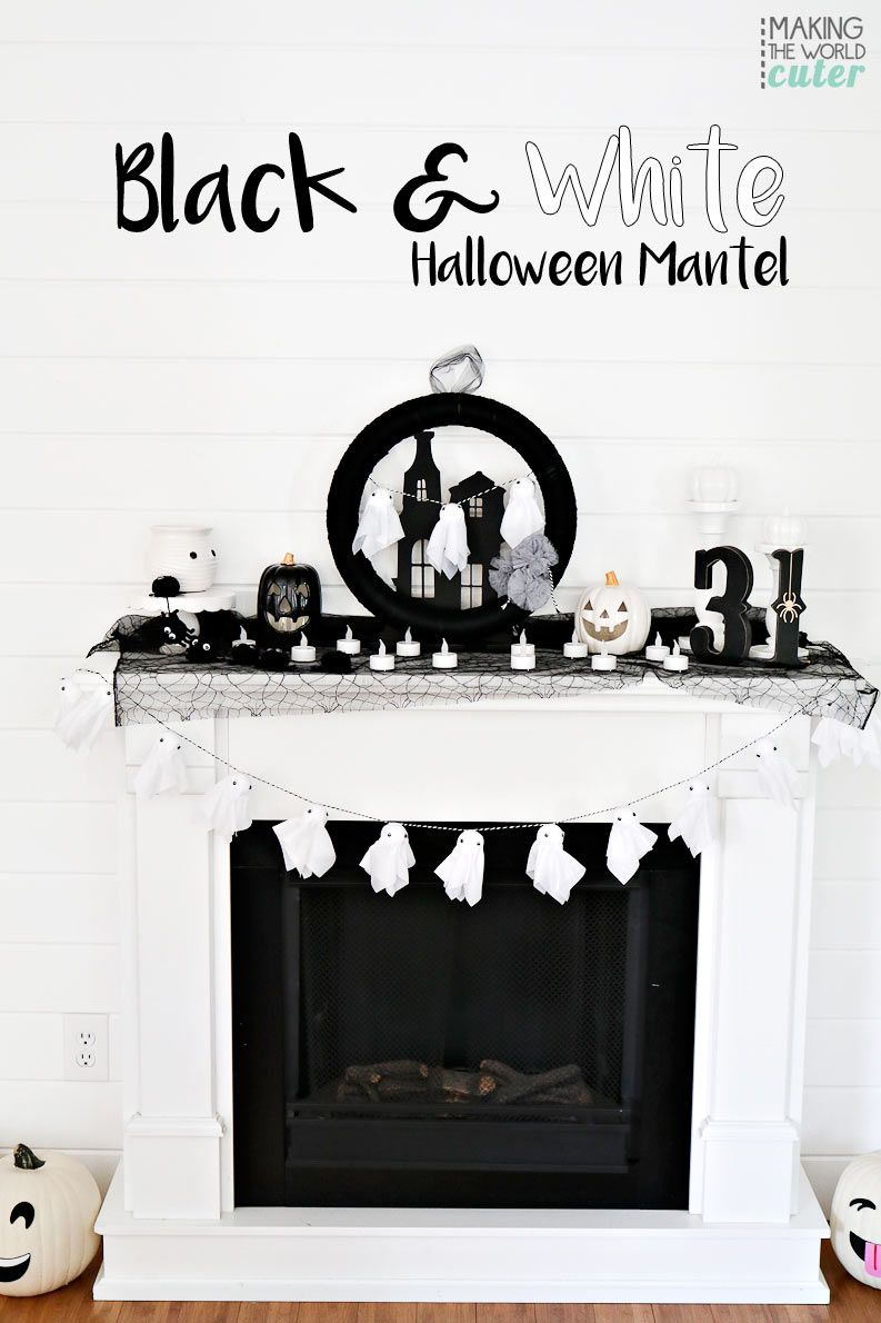 Delightful Black and White Halloween Mantel Metal trays, Mantels - black and white halloween decorations