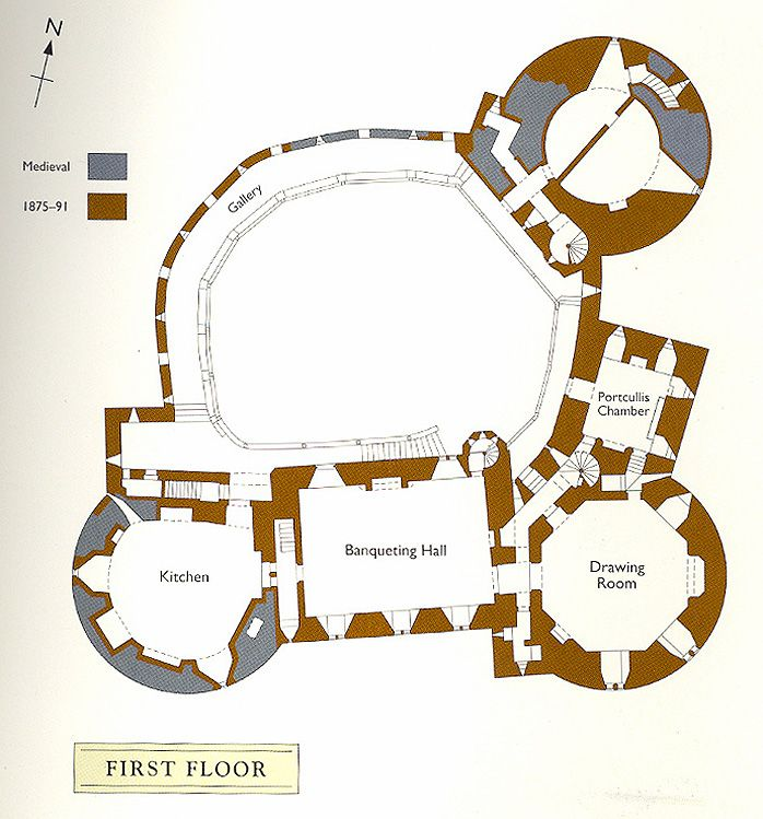 Castell Coch Plan Of The First Floor Castle Layout Castle Designs Architecture Drawing