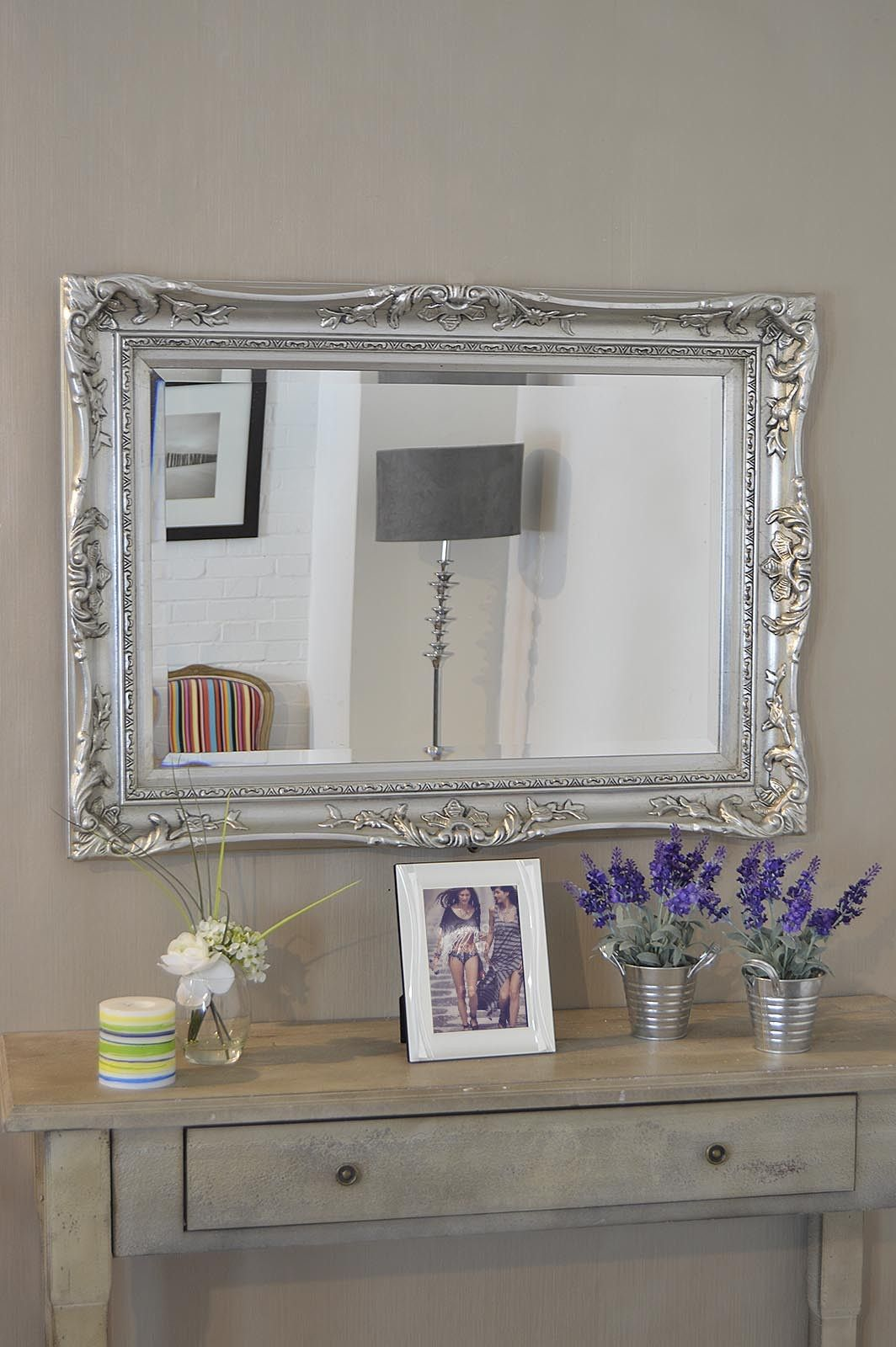 3Ft2 X 2Ft4 97x71cm Large Silver Ornate Antique Style Big Wall ...