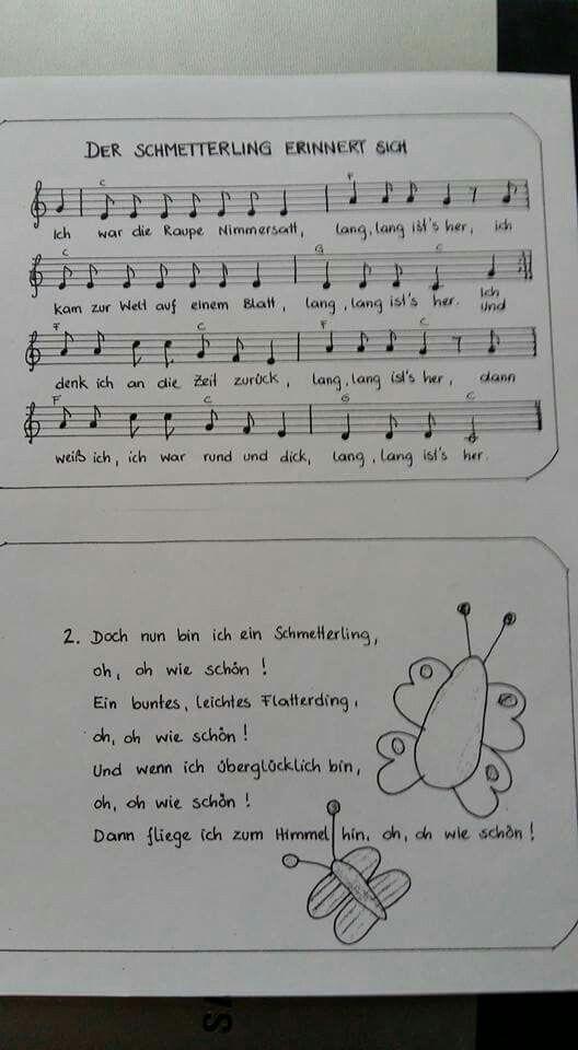 Schmetterling Raupe Nimmersatt Lied Raupe Nimmersatt