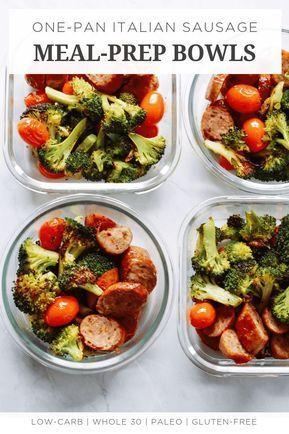 One-Pan Italian Sausage Meal-Prep Bowls images