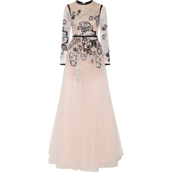 Elie SaabMetallic Embroidered Lace And Tulle Gown (2.620.170 HUF) via Polyvore featuring dresses, gowns, pastel pink, see-through dresses, pink gown, pink evening dress, lace sleeve dress and floral dresses