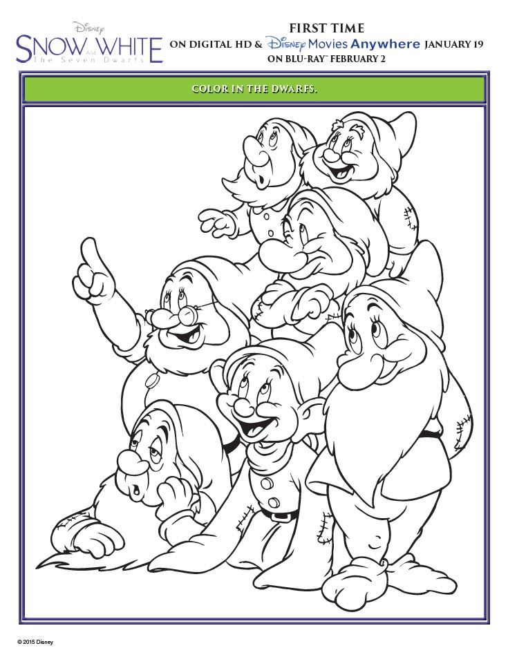 Snow White and the Seven Dwarfs Printable Coloring Pages | Pinterest ...
