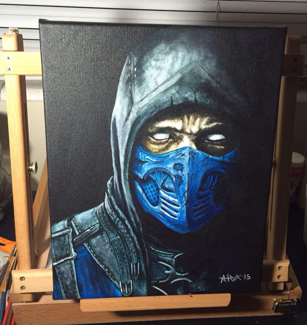 Subzero From Mortal Kombat Acrylic Painting By My Husband Alex Ellis Alexellistattoo Painting Art Drawings