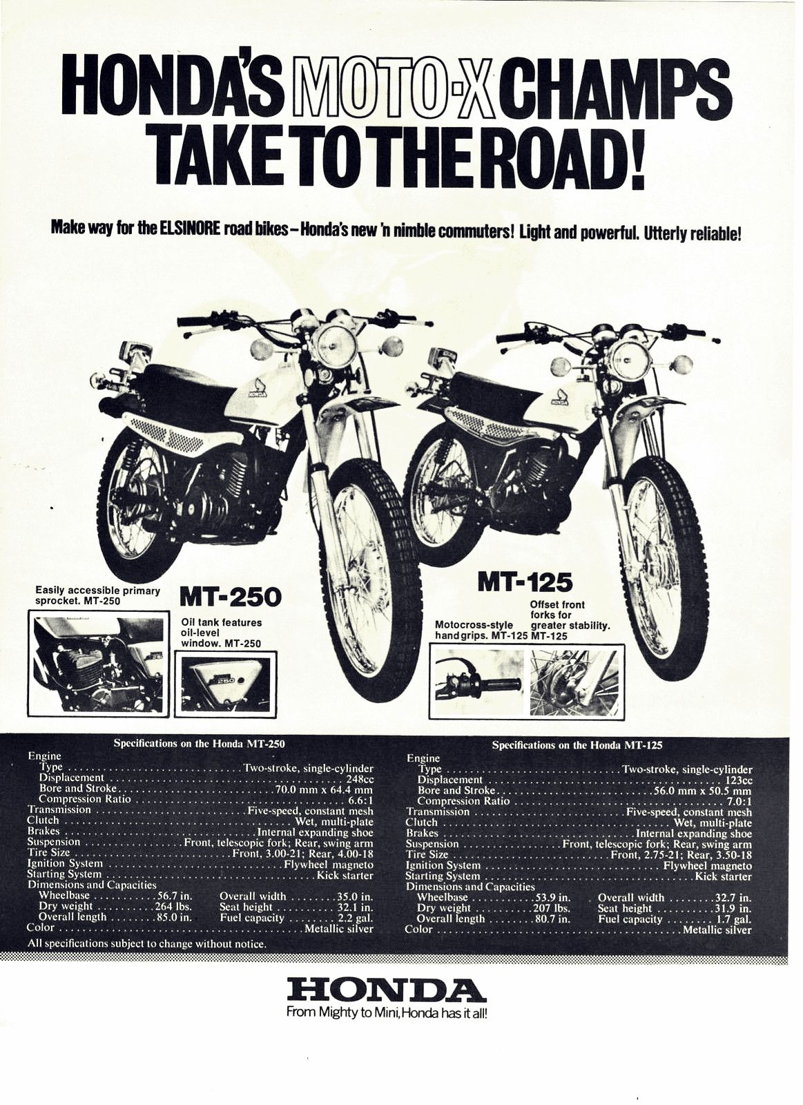 1973 Honda Mt250 125 Moto X Champs Motorcycle Brochure Honda Brochure Motorcycle