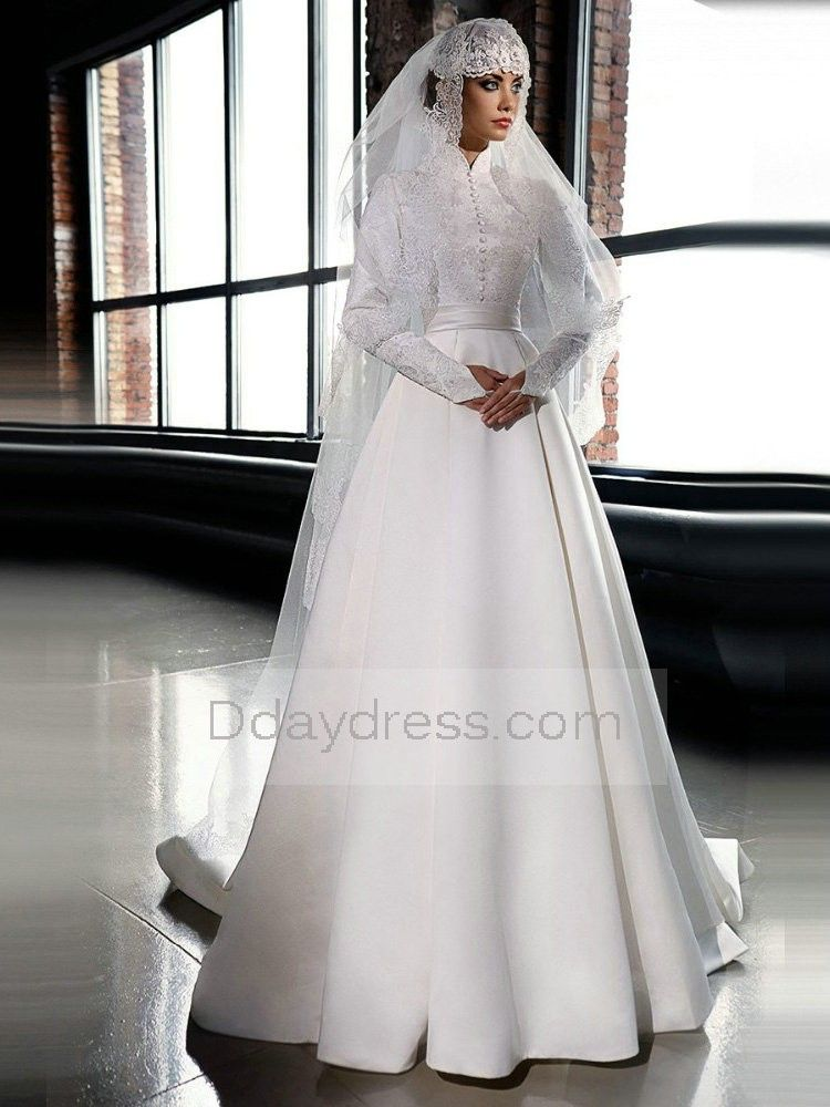1b212cb3e1 Elegant A Line Muslim Satin Long Sleeve High Neck Floor Length Wedding Dress  With Hijab Itemwd0336