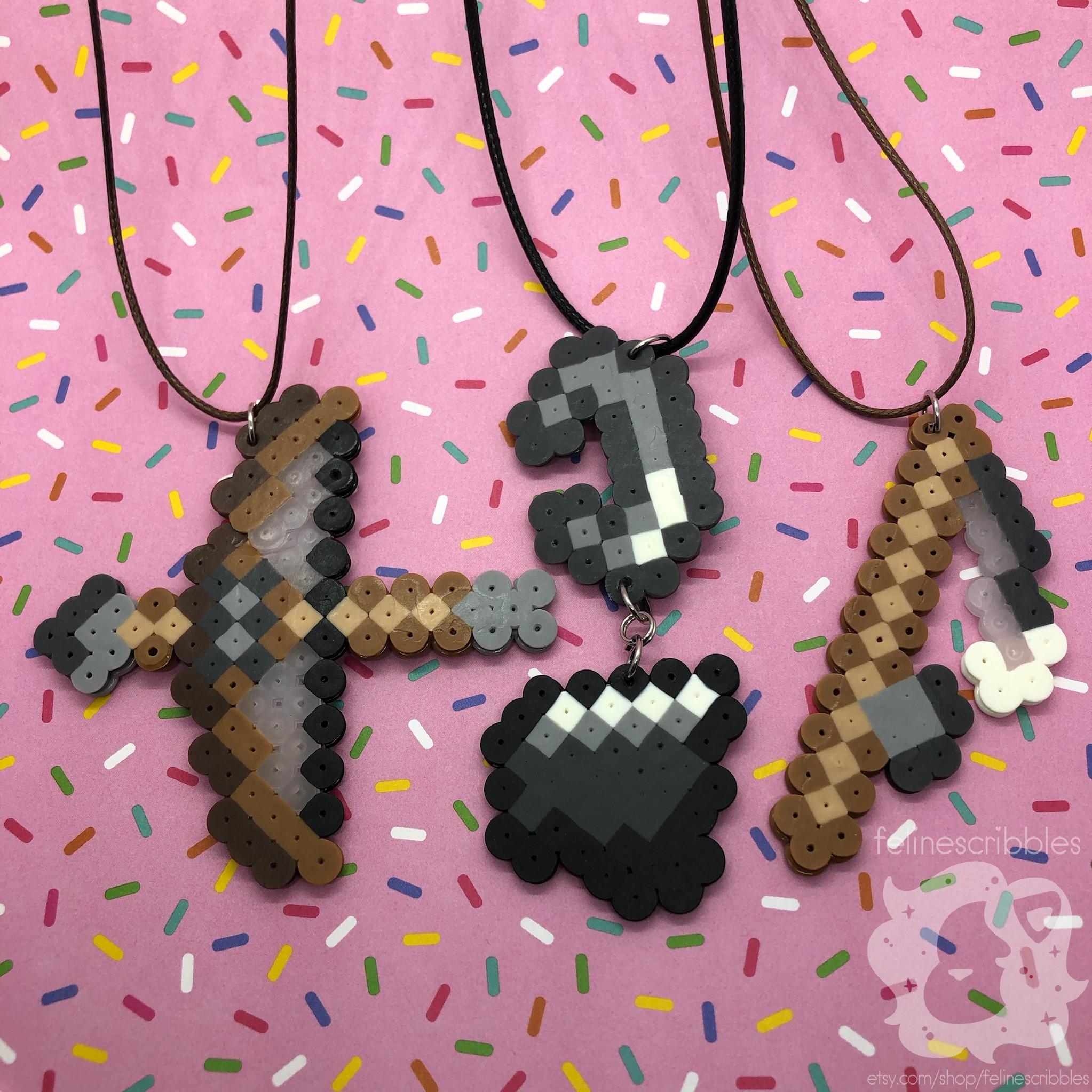 Perler Minecraft Bow And Arrow Flint And Steel Fishing Rod Etsy Flint And Steel Minecraft Bow And Arrow Perler