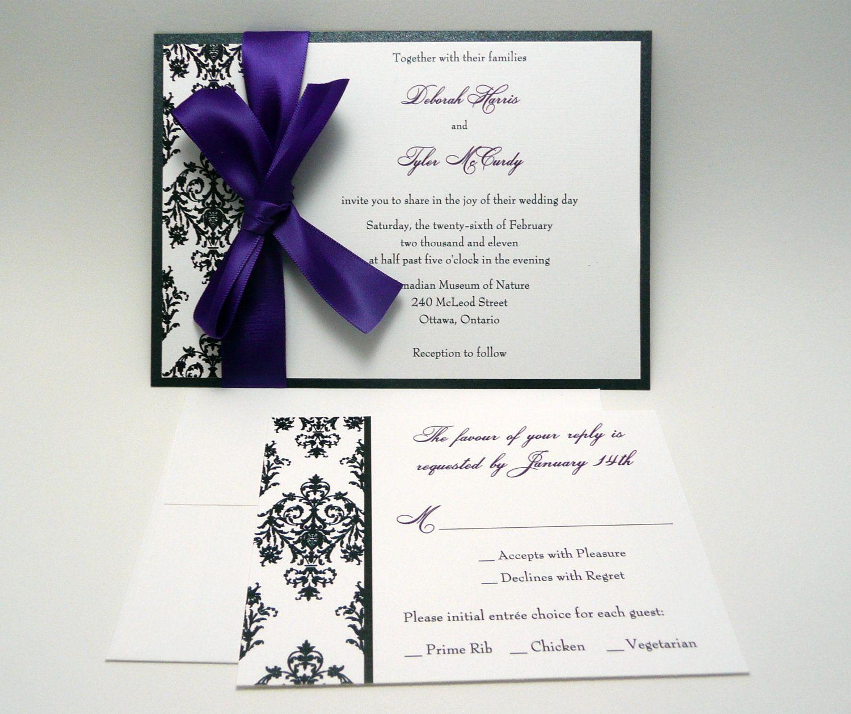 Damask Wedding Invitation Sample The Jaime by PinkOrchidInvites ...