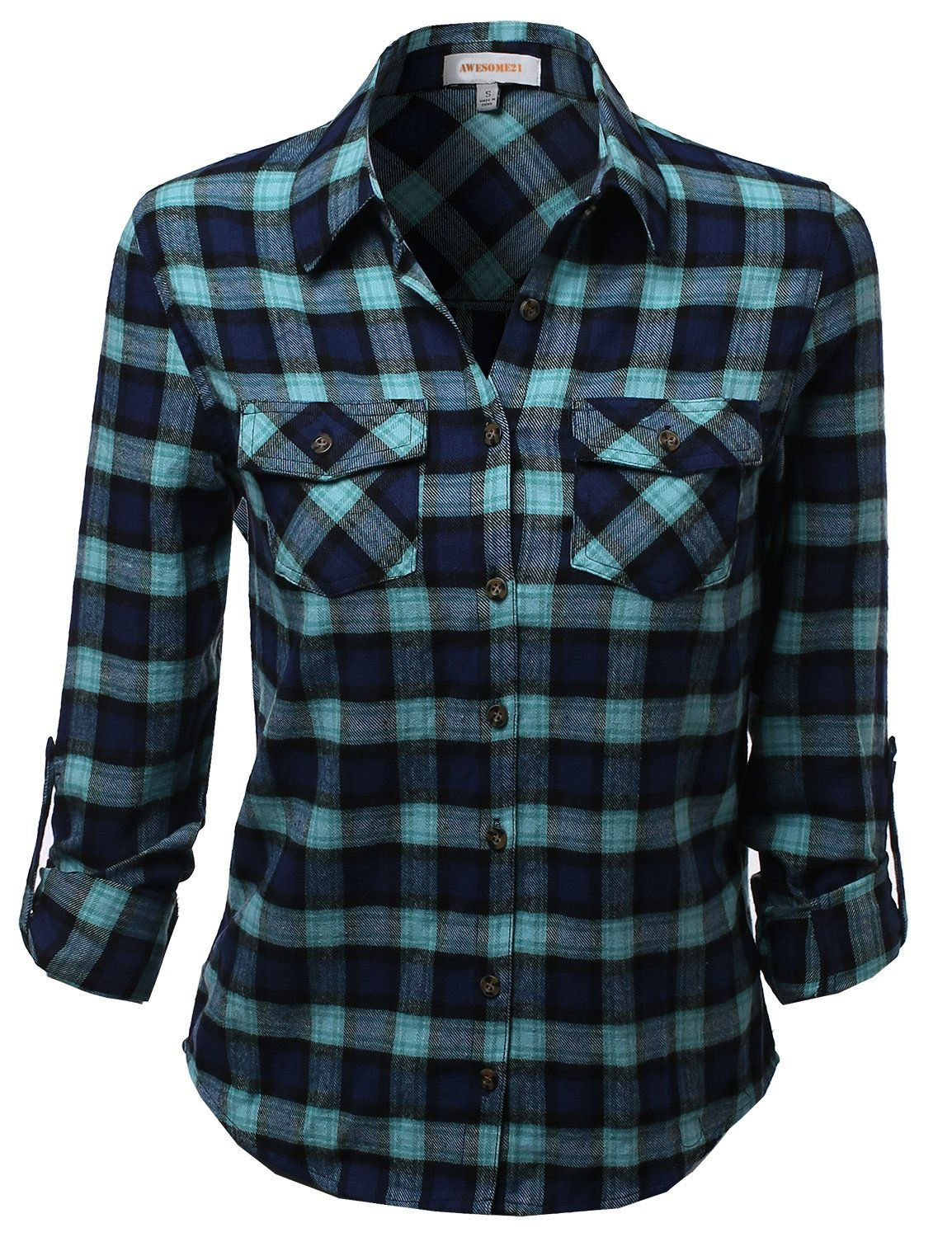 Woman red flannel outfits  Flannel Plaid Checker Rolled up Shirts Blouse Top Mint Navy Size M