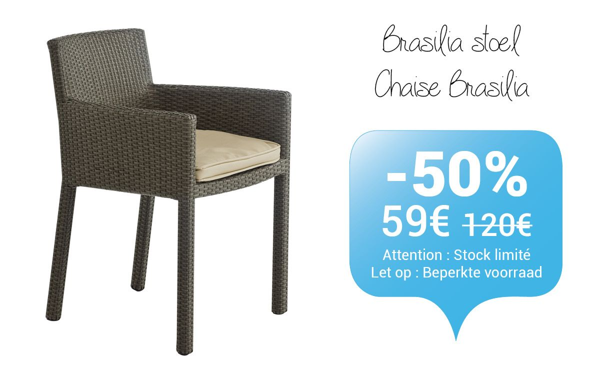 Promotion: la chaise BRASILIA.  Prix: 59€ au lieu de 120€. Tijdelijke promotie: de comfortabele stoel BRASILIA. Promoprijs: € 59 in plaats van € 120. http://www.depot-design.eu/nl/stoelen/1355-stoel-brasilia.html