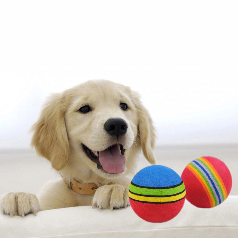 awesome 2pcs Durable Chew Bite Treat Bouncy Ball Toy Pet