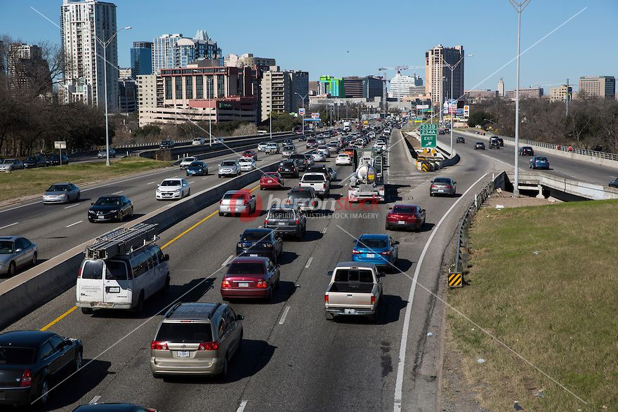 View of I-35 Interstate Highway traffic congestion on Sunday