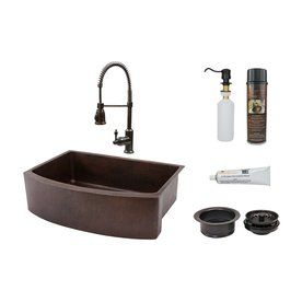 Premier Copper Products 33 In X 24 In Oil Rubbed Bronze Single Basin Copper Drop In Residential Kitchen Sink All In One Products Sink Double Bowl Kitchen Sink Single Bowl Kitchen Sink