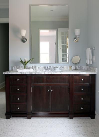 Espresso Vanity with Marble Countertop Vintage bathroom