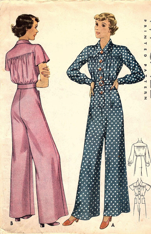Original 1930s Glam McCall 8905 Wide Leg Palazzo One Piece Pajamas ...
