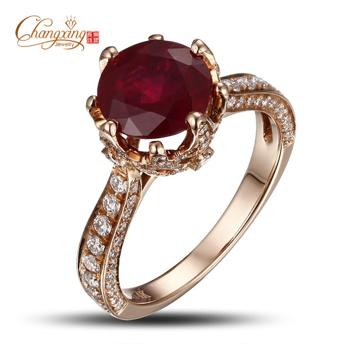 14K Rose Gold Blood Red Round Ruby Natural Diamond Engagement Ring