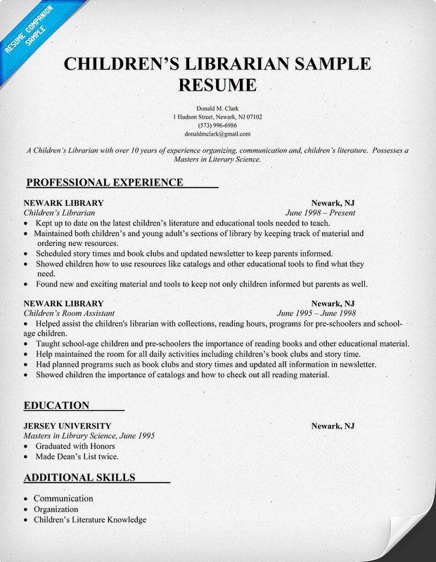 Childrens Librarian Resume Sample (  resumecompanion - library resume sample