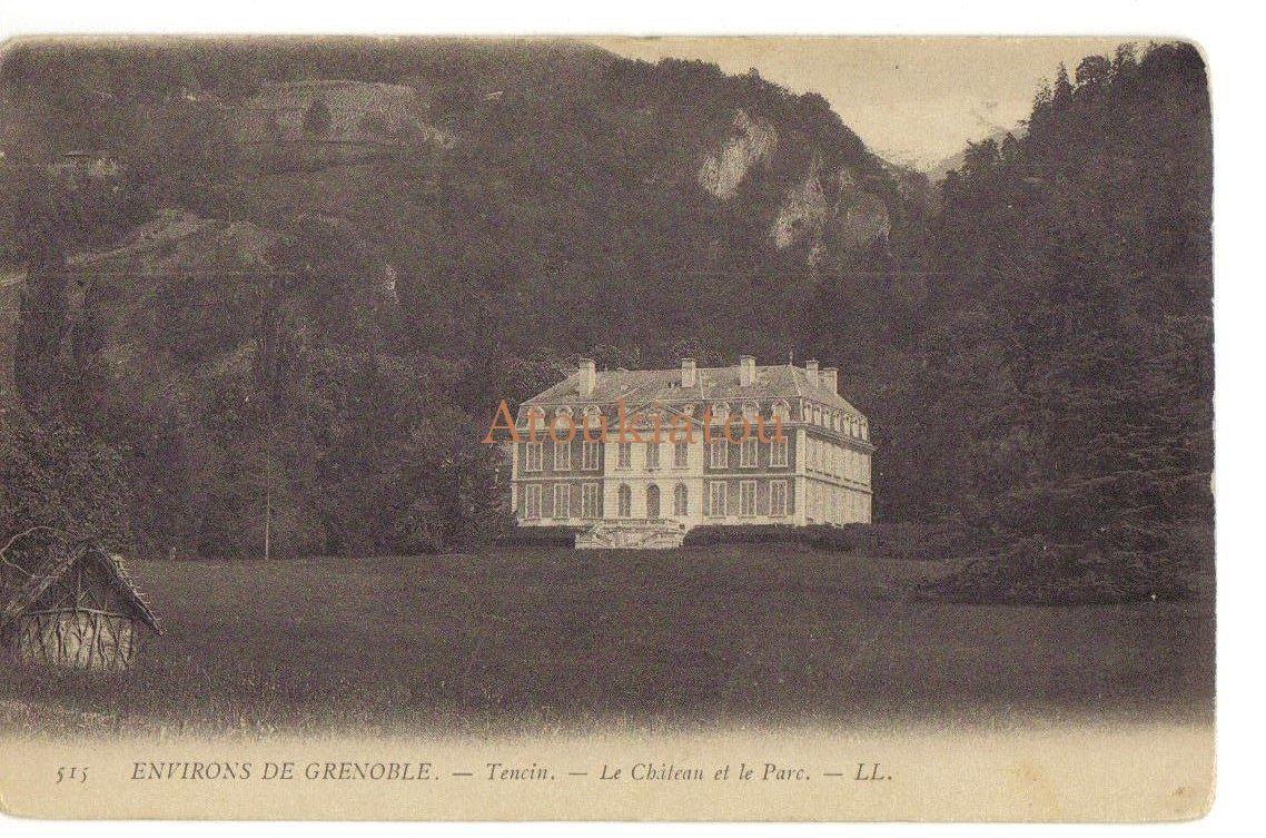Environs de Grenobles. France. Tensin. Château et parc. Ancienne carte postale. Vintage postcard.