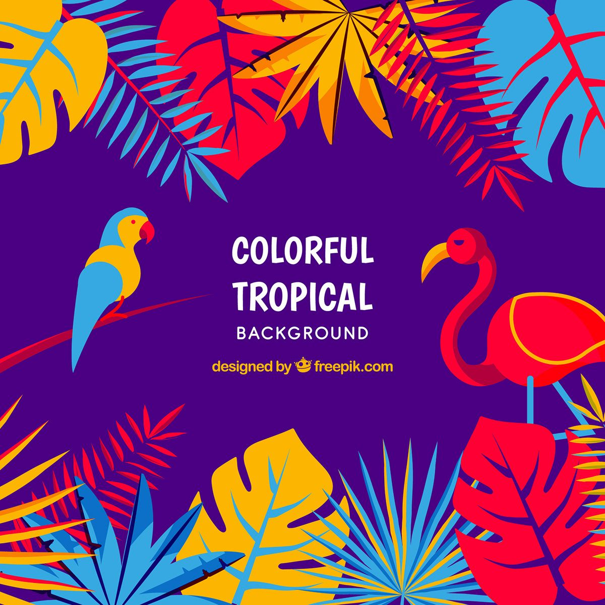 Colorful tropical background in flat style free vector by