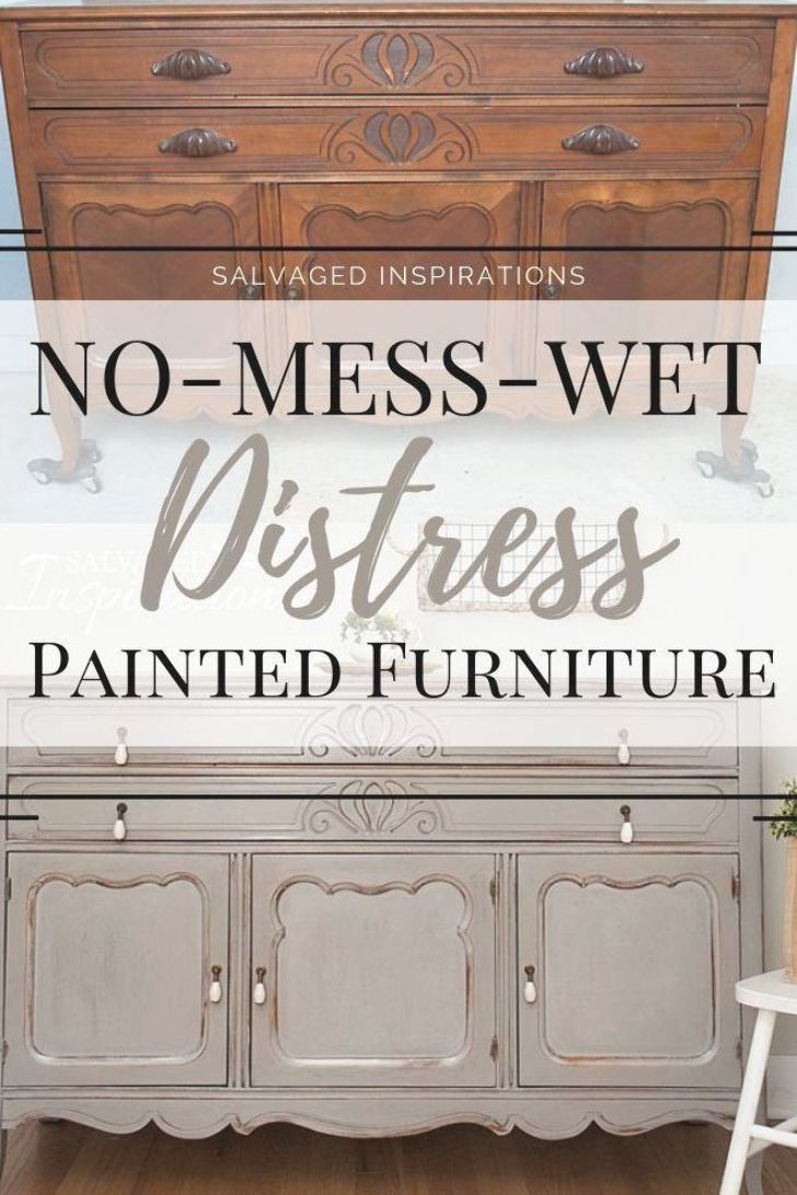 No-Mess-Wet Distress Painted Furniture | No Sanding Needed | Salvaged Inspirations  #siblog #salvaged #furnituremakeover #refurbishedfurniture #paintinginspo #salvagedinspirations #furniturerescue #vintage #DIY