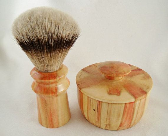 Shaving brush and Bowl matched set in Flame by LovgrenandDaughter