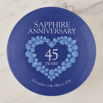 Sapphire 45th Anniversary Custom Date Gift Trinket Trays Zazzle Com Married Gift Gift Wedding Anniversary Anniversary Gift Diy