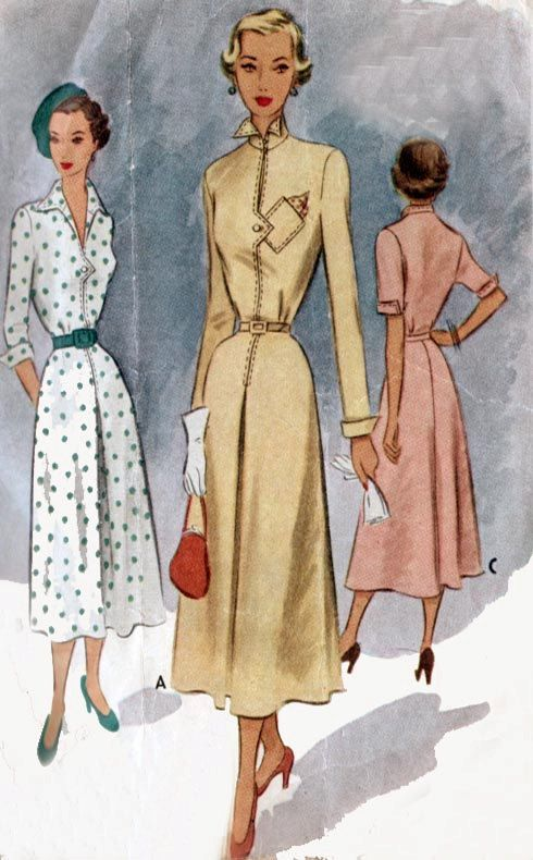 Vintage 40s Sewing Pattern McCll 7685 DECO STYLE Fitted Day Dress ...