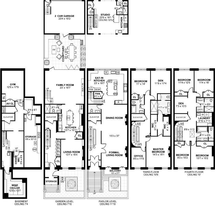 504 Hudson Street Hoboken Nj Townhouse For Sale Town House Floor Plan Garage Floor Plans Penthouse Apartment Floor Plan