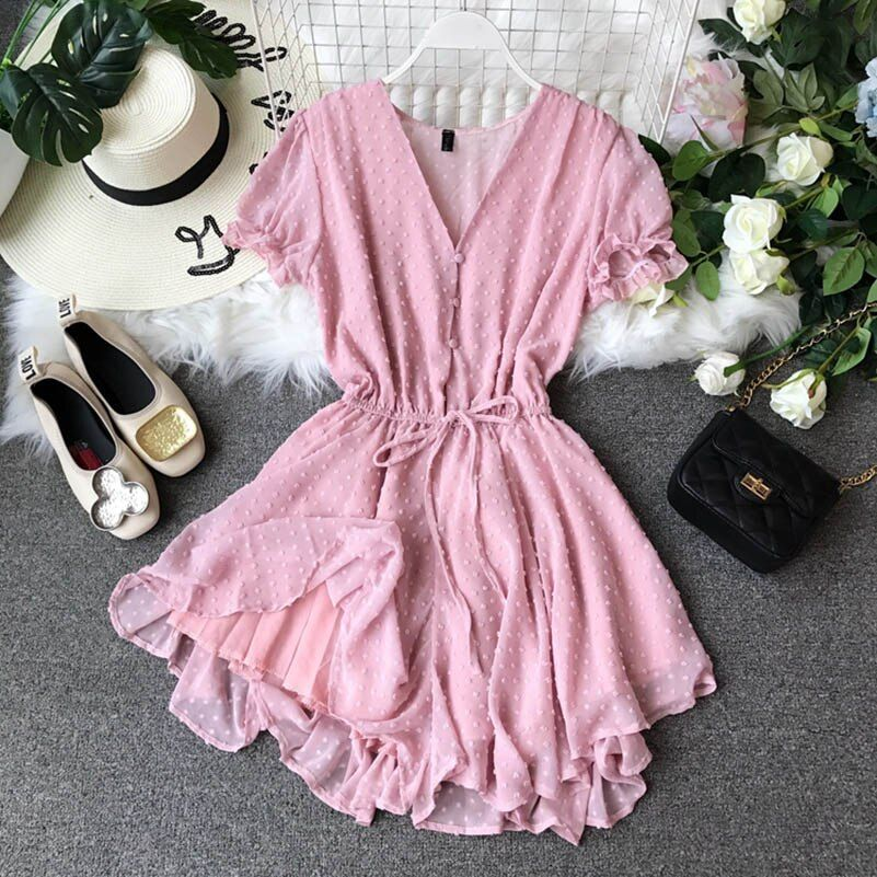 2020 summer bodysuit New V-collar Flocking Point Chiffon Couplet Girls Summer Short Playsuits Women Short Sleeve Sweet Jumpsuits | akolzol.com