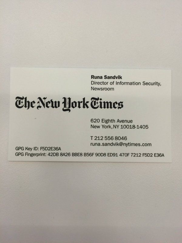 New York Times Business Card