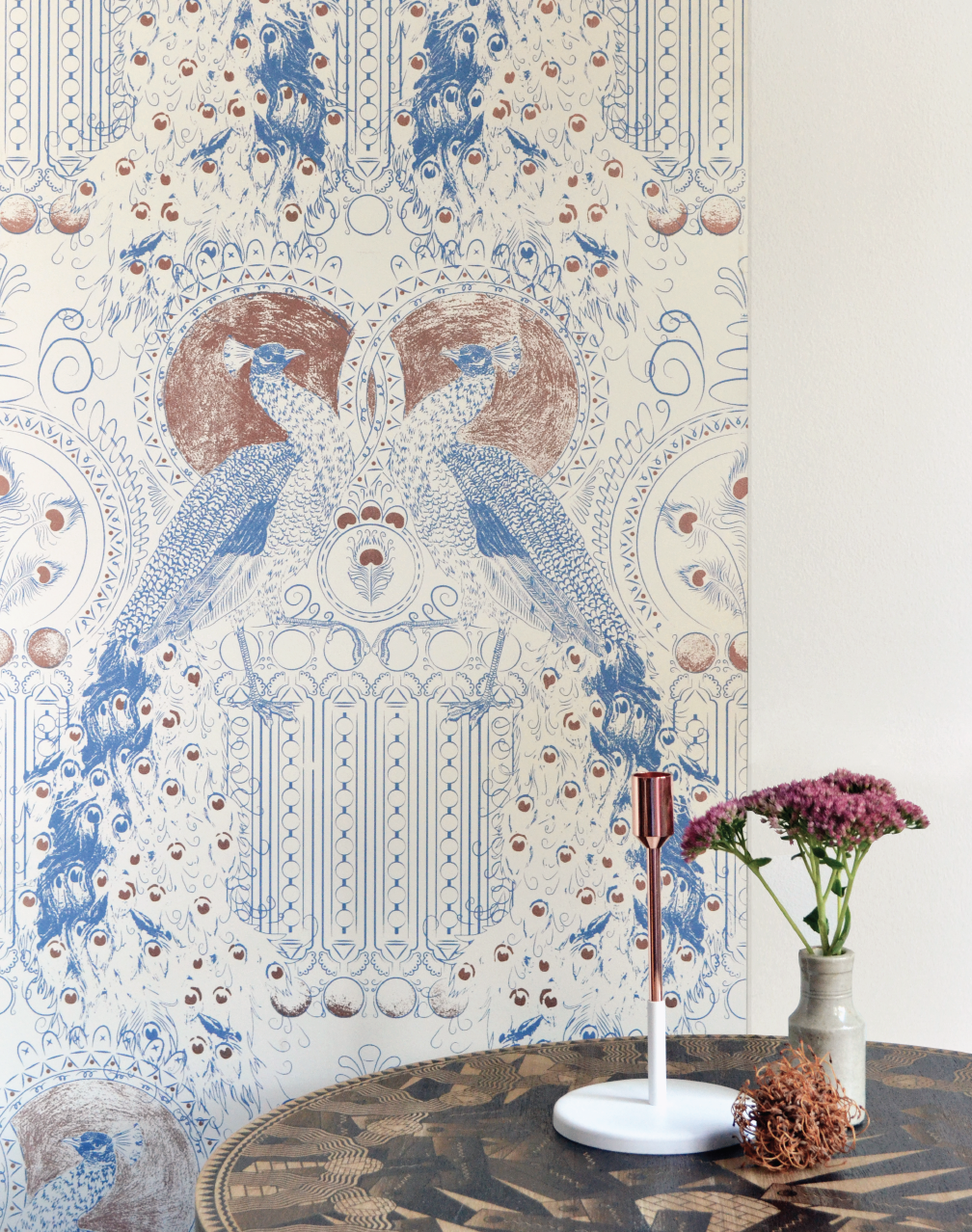 Eastern Peacock, Chalk Blue & Bronze for the walls