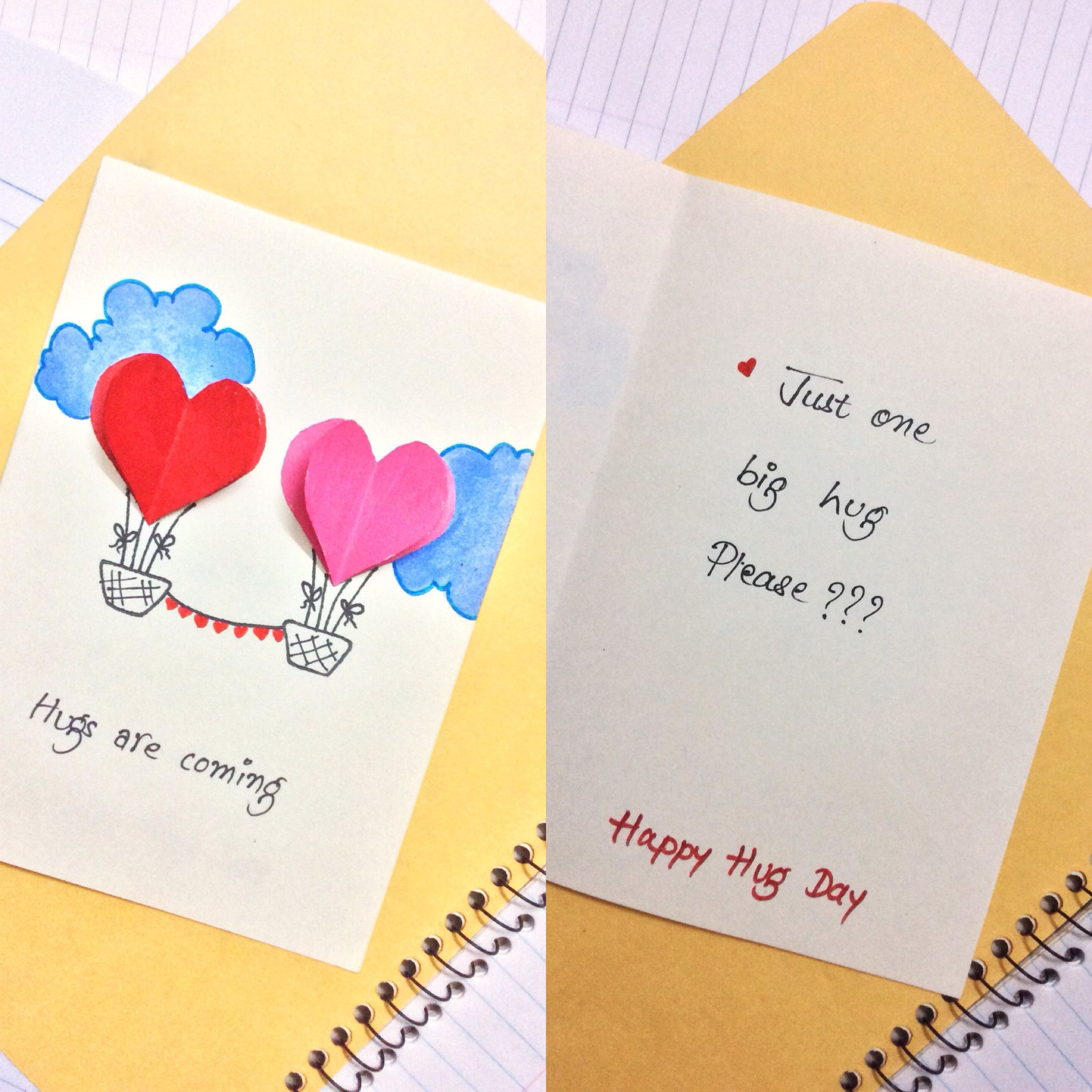 Card Making Ideas For Husband Part - 45: Hug Day Card Valentine Day Weekly Cards Making DIY Crafts For Husband /wife/boyfriend