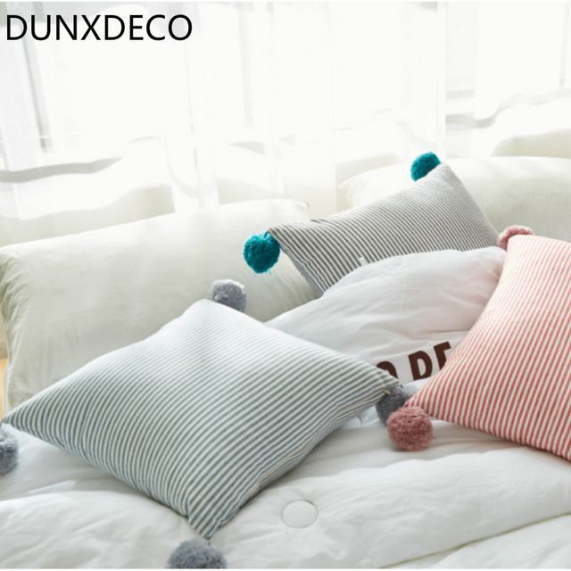 Dunxdeco Kawii Nordic Simple Lines Stripe Little Ball Cute Cushion Sofa Chair Bed Decorative Pillow Good
