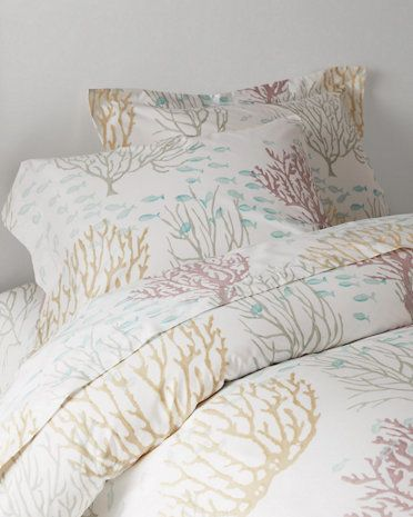 coral reef sateen bedding from garnet hill