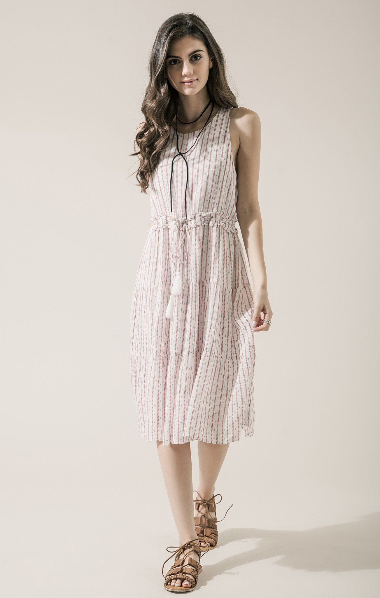c29d346a25c Moon River Striped Drawstring Midi Dress ( 92)- The Style Theory ...