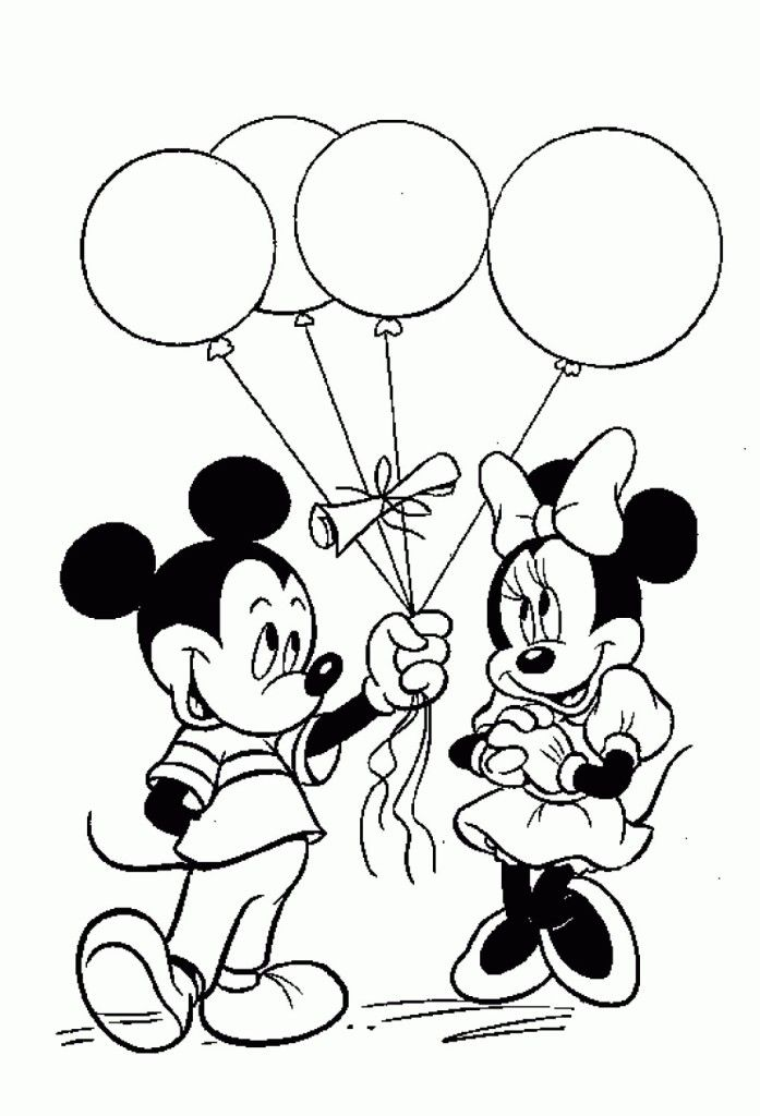 Mickey And Minnie Mouse Birthday Coloring Pages Mickey Coloring