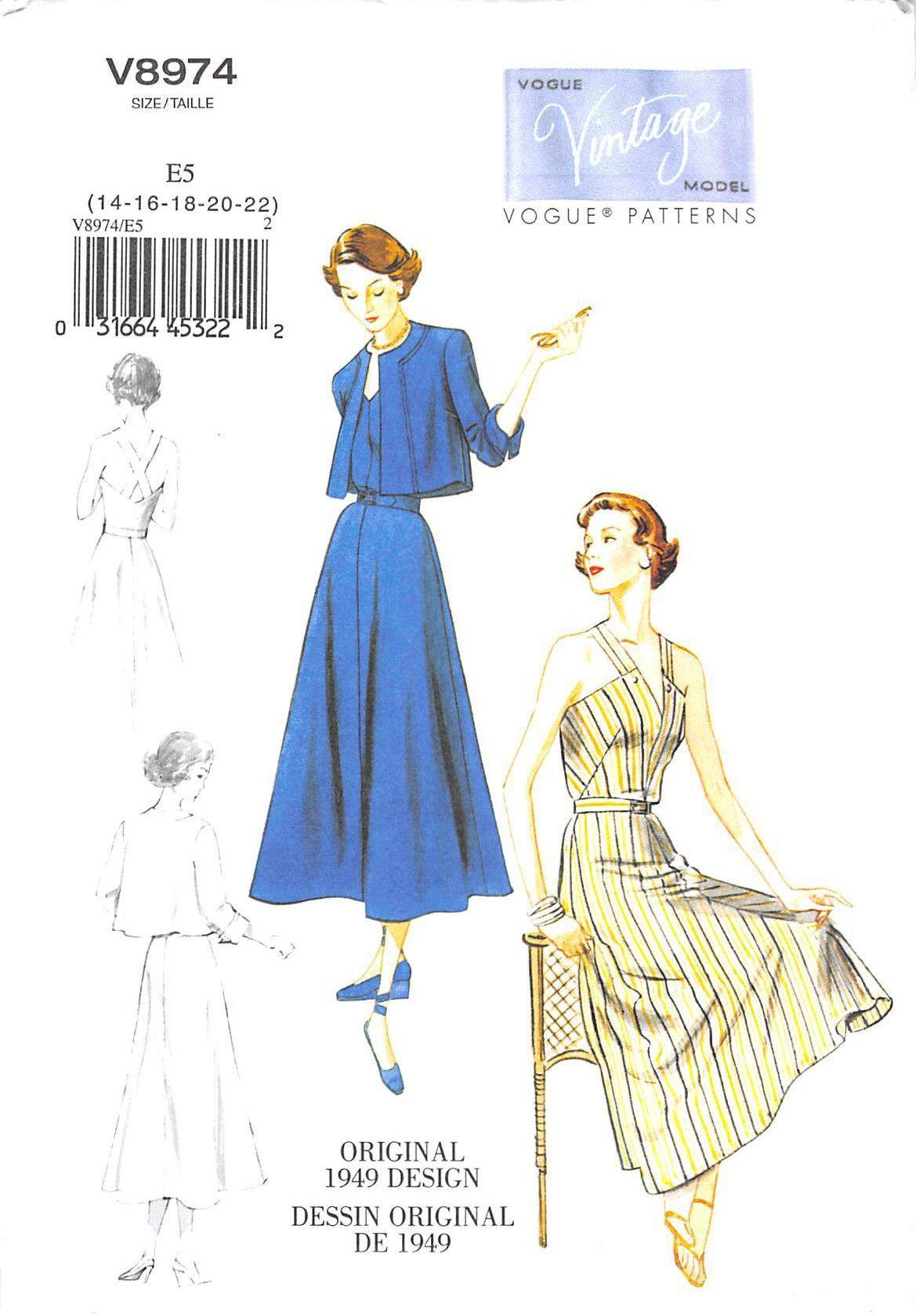 VOGUE 8974 UNCUT MISSES JACKET DRESS AND BELT