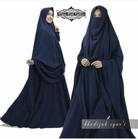 Baju Gamis Syari Khalifah Marun Cokelat Dan Navy Cadar Set