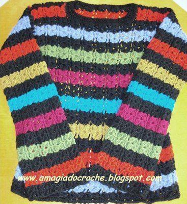 LA MAGIA DE Croche: BLUSA EN Croche COLORIDO