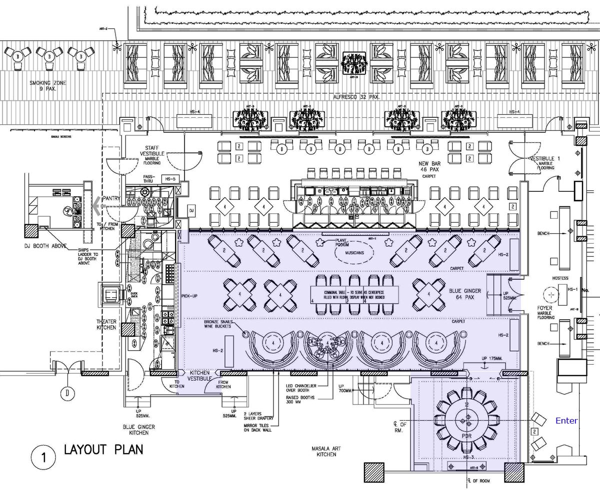 Taj palace hotel delhi blueginger restaurant for Planning a kitchen layout