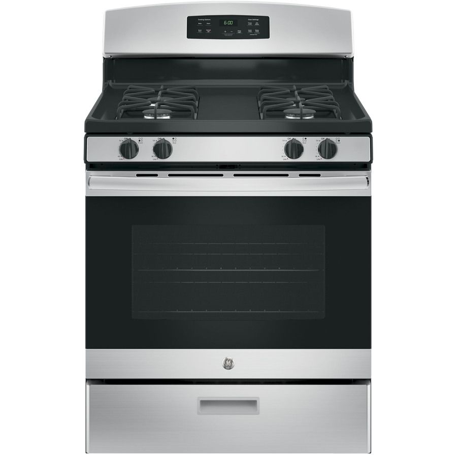Ge Freestanding 4 8 Cu Ft Gas Range Stainless Steel Common 30 In Actual 30 In Gas Range Free Standing Gas Self Cleaning Ovens