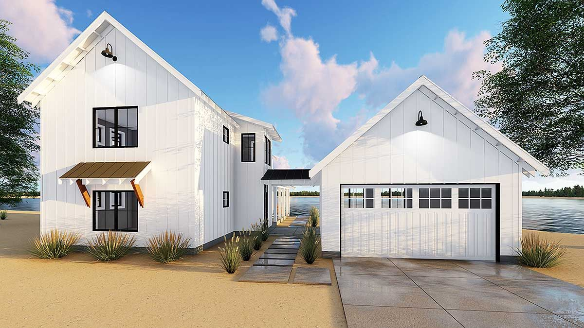 Plan 62650DJ Modern Farmhouse Plan With 2 Beds And Semi Detached Garage Modern Farmhouse