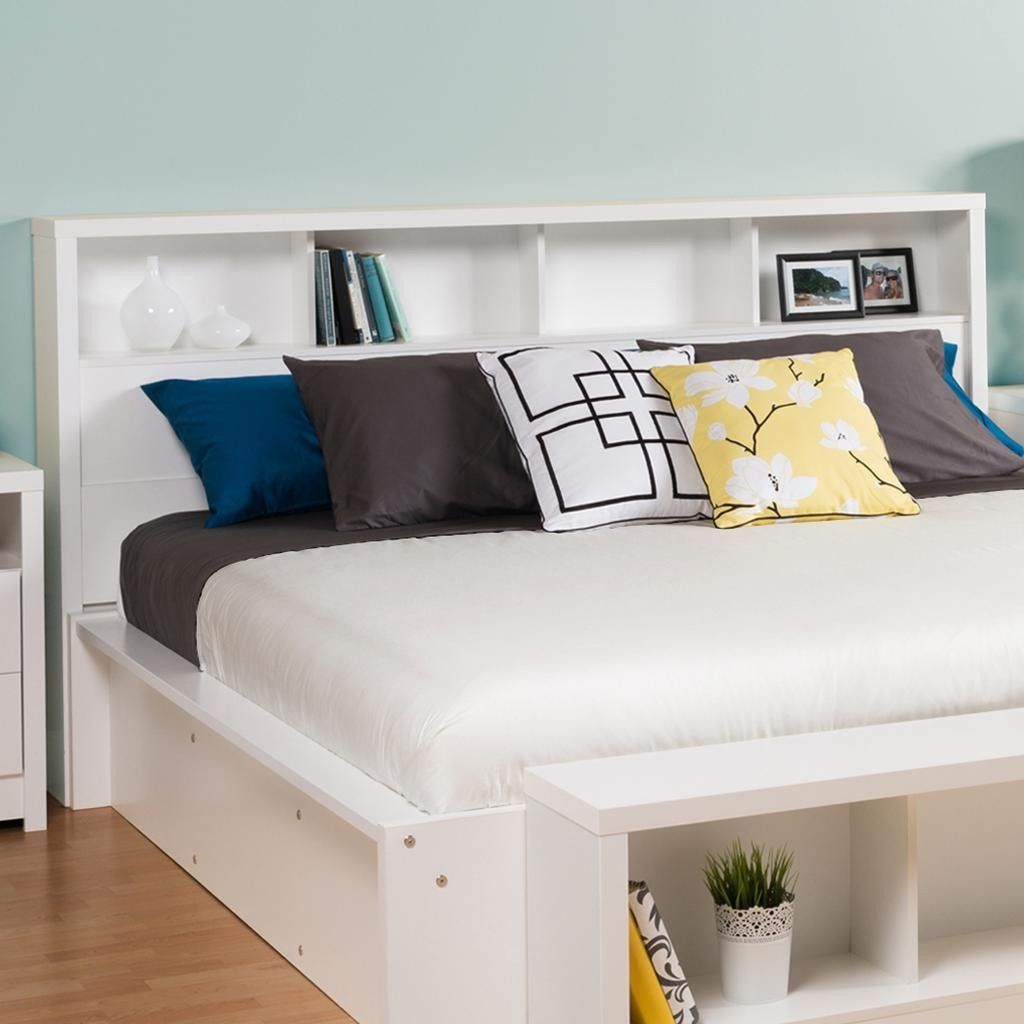 King size bookcase headboard with storage shelves in white - King size headboard ideas ...