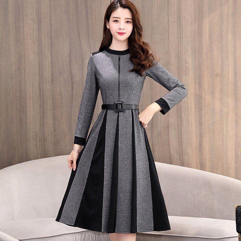 2019 Spring Women A Line Dress Long Sleeve Knee Length Office Lady Elegant O Neck Women Dress Autum Women S A Line Dresses Elegant Dresses Girls Dresses Sewing