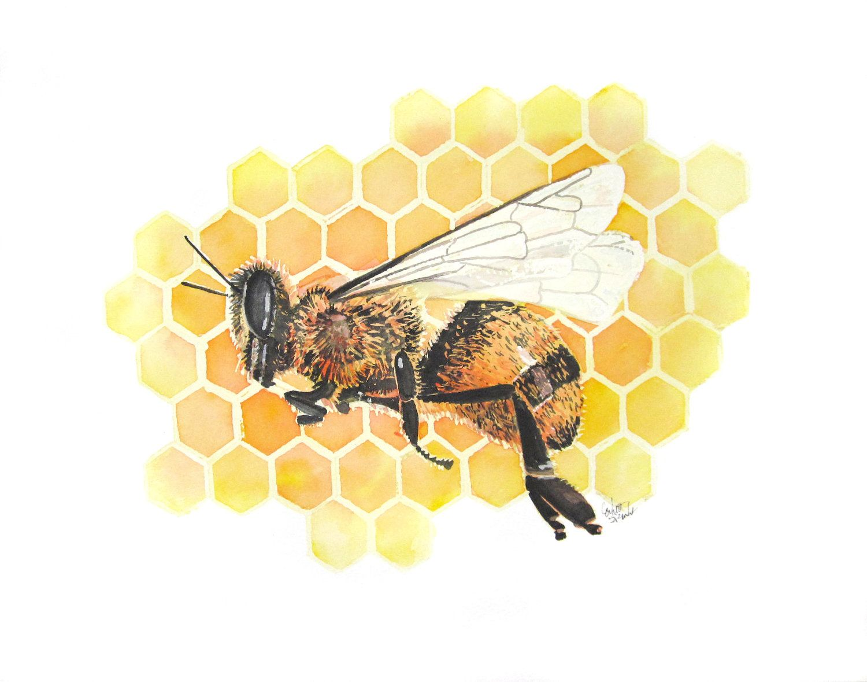 Etsy Art Honey Bee Original Watercolor Painting 20000 Via Etsy