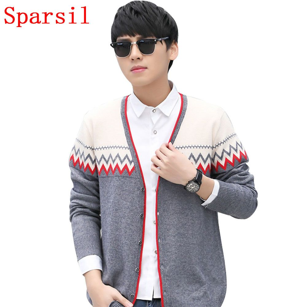 Sparsil Men Winter Casual Cashmere Blend Cardigans Sweater Male ...