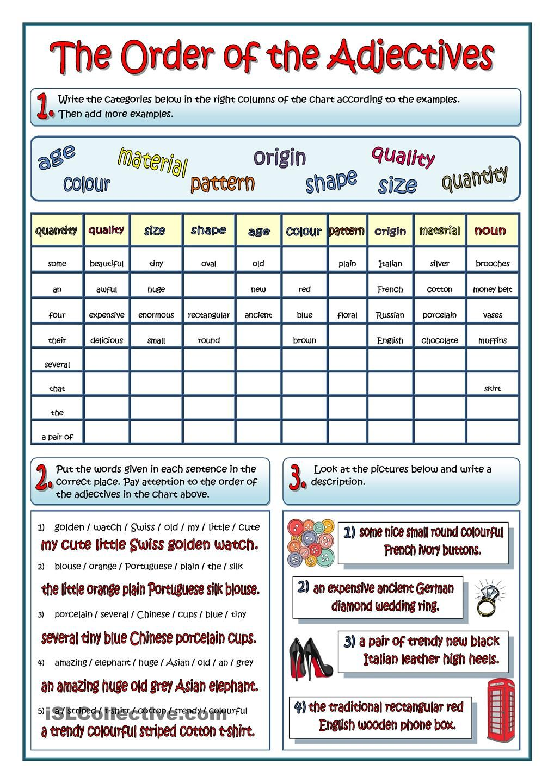Worksheets Order Of Adjectives Worksheet the order of adjectives education pinterest adjectives