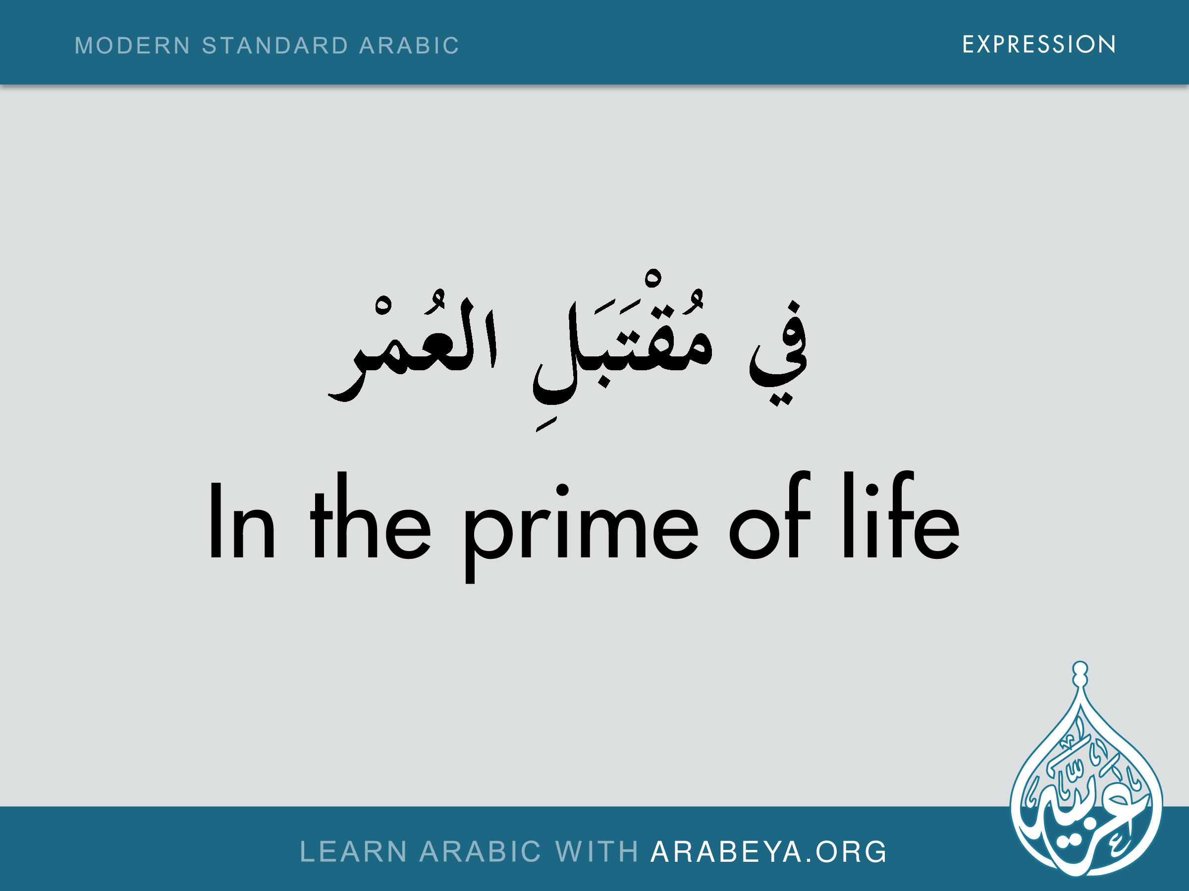 In The Prime Of Life Arabische Taal Taal Arabisch